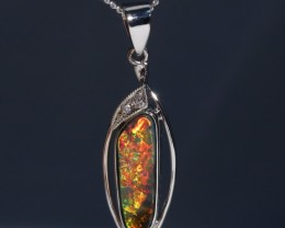 Bright Red and Orange Boulder Opal 18K Gold and Diamond Pendant