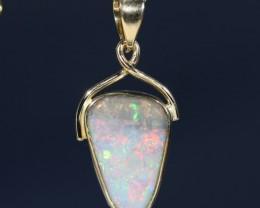 Stunning Australian Boulder Opal 18K Gold Pendant