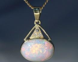 Stunning Australian Crystal Opal 18K Gold and Diamond Pendant