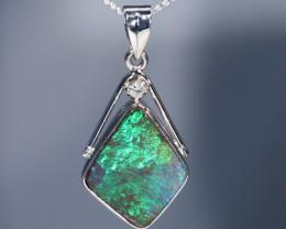 Bright Green Australian Boulder Opal 18K Gold and Diamond Pendant