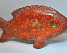 """3""""   250ct Fish Stone Carved Mexican Matrix Opal"""