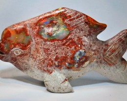 300ct Fire Opal Fish Stone Carving Figurine