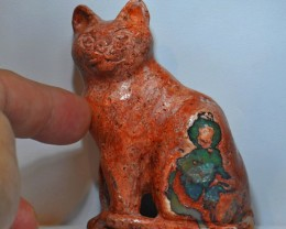 Cat Stone Carved Mexican Matrix Opal.