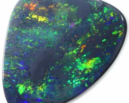 3.90 CTS BLACK OPAL FIRE FREEFORM ELECTRIC FOREST GREEN FIRE MOZ114