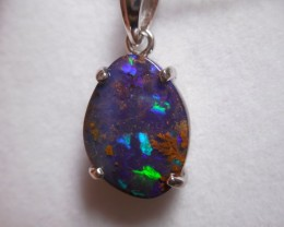 10.4ct Sterling Silver Boulder Opal Polished Stone Pendant