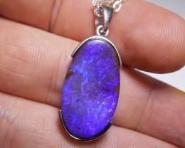 27.7ct Sterling Silver Boulder Opal Polished Stone Pendant