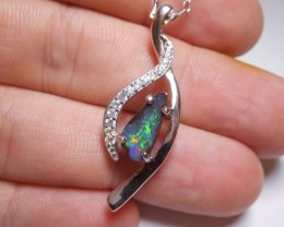 16.4ct Boulder Opal Polished Stone Pendant- Sterling with White Topaz.