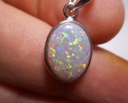 7.2ct Coober Pedy Solid Opal Polished Stone Pendant Sterling Silver with SS