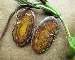 "33cts,""BOULDER MATRIX OPAL~GEM PAIR"""
