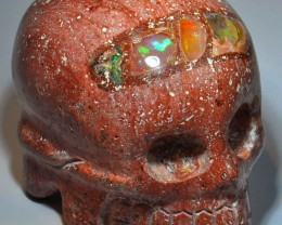 CARVED SKULL SOLID CRYSTAL OPAL HIGH QUALITY CRAFTMANSHIP
