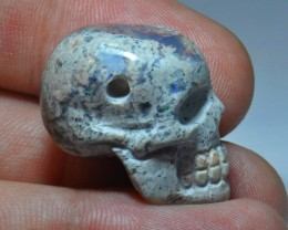 MEXICAN UNIQUE EXTREMELY BRIGHT CARVED DRILLED SKULL PENDANT