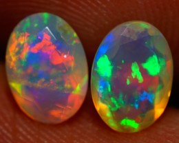 7X5 MM TOP GRADE BEAUTIFUL FLASHY MULTI COLOR WELO FACETED OPAL PAIR-JA453