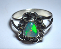 7sz SOLID  OPAL HIGH QUALITY .925 STERLING FABULOUS RING