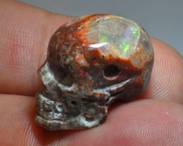 Carved Skull Drilled Pendant Mexican Matrix Opal
