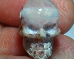 20ct Carved Skull Drilled Pendant Mexican Matrix Opal