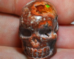 Skull Extremely Bright Carved in Mexican Matrix Opal Pendant