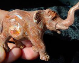 $1 NR Auction Elephant Mexican Cantera Figurine Fire Opal