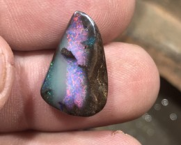 Beautiful red rainbow boulder opal