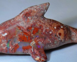 Dolphin Figurine Carved in Mexican Fire Opal Specimen