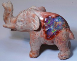 Elephant Extremely Bright Carved in Mexican Matrix Opal