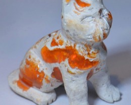 Cat Fire Bright Carved in Mexican Matrix Opal