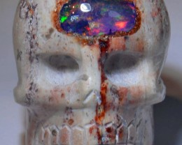 Skull Extremely Bright Carved in Mexican Matrix Opal