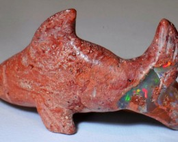 Shark Figurine Carved in Mexican Fire Opal