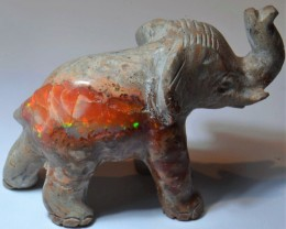 Elephant Figurine Carved in Mexican Matrix Opal Specimen