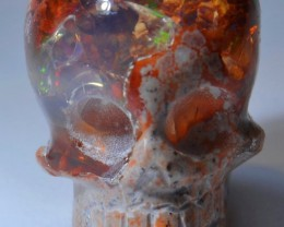 Figurine Skull Carved in Mexican Matrix Landscape Opal