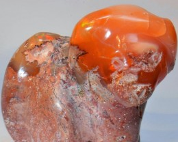 Figurine Dog Carved in Mexican Fire  Opal