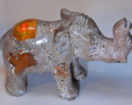 Elephant Figurine Carved in Mexican Fire Opal