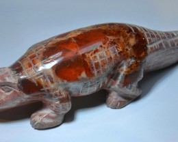 Crocodile Figurine Carved in Mexican Fire Opal