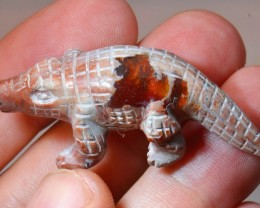 Crocodile Figurine Carved in Mexican  Opal