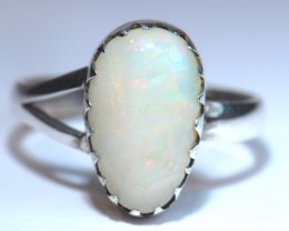 Sz7.5 SOLID WELO OPAL HIGH QUALITY .925 STERLING FABULOUS RING