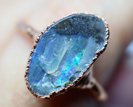 13.75CT OPAL RING WITH ELECTRIC FORM COPPER (RAW) OI475