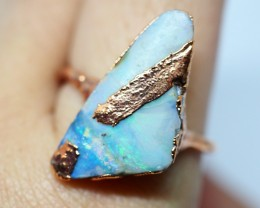 18.75CT OPAL RING WITH ELECTRIC FORM COPPER(RAW)  OI494
