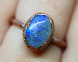 11.55CT OPAL RING WITH ELECTRIC FORM COPPER  OI504
