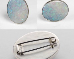 925 Silver Brooch & Pendant with large 30x25mm oval opal