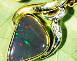 Solid Black Opal 18K Two Tone Gold Pendant SCO67