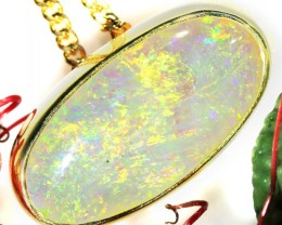 SOLID CRYSTAL OPAL YELLOW GOLD PENDANT SCO158