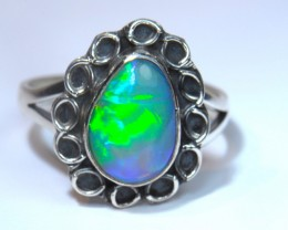 8.5sz BRILLIANT ETHIOPIAN WELLO OPAL .925 STERLING RING QUALITY WORKMANSHIP