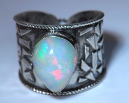 Sz8 LARGE SOLID  OPAL HIGH QUALITY .925 STERLING FABULOUS RING