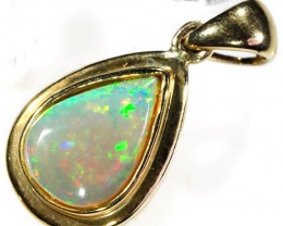 TEAR DROP CRYSTAL  OPAL 14K  PENDANT     CK 1621