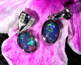 11.45 TWO GEM TRIPLET OPAL T PENDANT SET  [SOJ6398]
