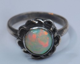 Sz7 SOLID CRYSTAL OPAL HIGH QUALITY .925 STERLING FABULOUS RING
