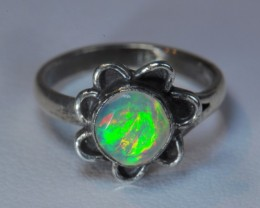 MIDI RING  SOLID CRYSTAL OPAL HIGH QUALITY .925 STERLING FABULOUS RING