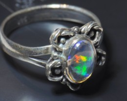 Sz6 MEXICAN CRYSTAL OPAL HIGH QUALITY .925 STERLING FABULOUS RING