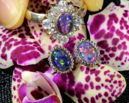 27.25 CTS OPAL TRIPLET SILVER JEWELRY SET-RING AND EARRINGS[SOJ6400]