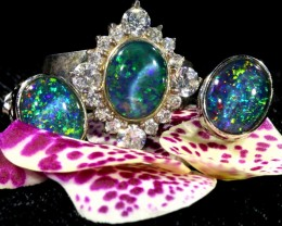 48.80 CTS OPAL TRIPLET SILVER JEWELRY SET-RING AND EARRINGS [SOJ6402]