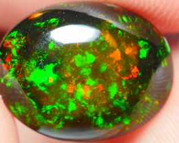 2.60 CRT BEAUTY FLORAL PATTERN GREENISH FIRE PLAY COLOR SMOKED WELO OPAL-